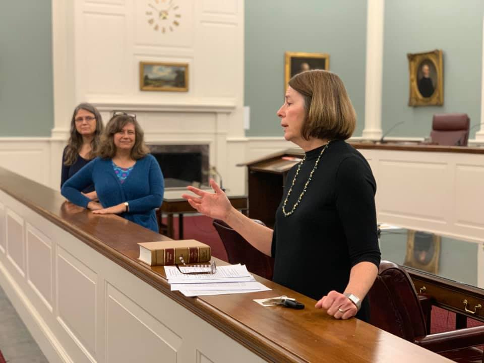 Judges of the New Hampshire Supreme Court work with students during Civics 603!