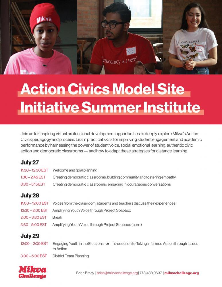Action Civics Model Site Initiative Summer Institute