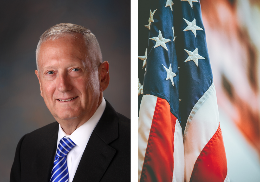 Image of General James Mattis and the U.S. Flag